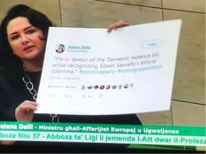Helena Dalli calls out Adrian Delia's 'inconsistency' on domestic violence law