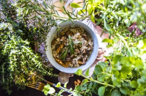 Mushroom, walnut and gorgonzola risotto