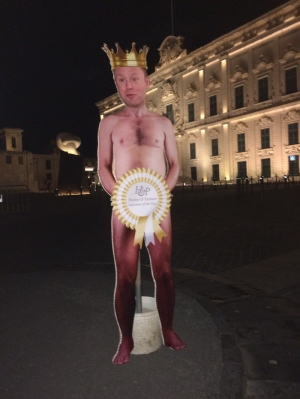 Cardboard cut-out of 'naked emperor' Joseph Muscat erected at Castille Place