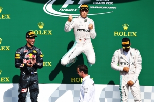 Rosberg wins Belgian GP as Lewis Hamilton roars to third