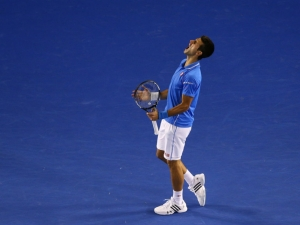 Australian Open - Andy Murray collapses as Novak Djokovic wins fifth Australian Open