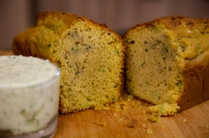 Polenta bread with garlic butter