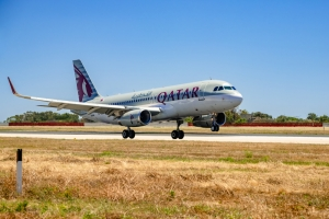 First Qatar Airways flight welcomed with water cannon salute