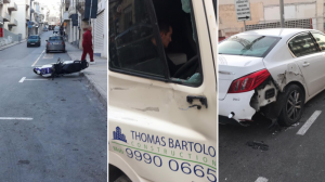 [WATCH] Rogue truck driver's rampage in Mellieha causes multiple damages to cars, bus