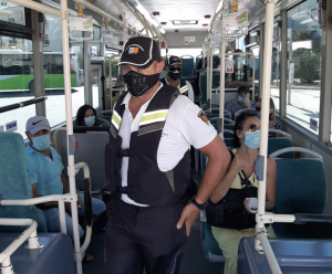 Spot checks being carried out on buses to ensure face masks are worn