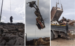 [WATCH] Two cars removed from Wied Bassasa by Parks Malta officials