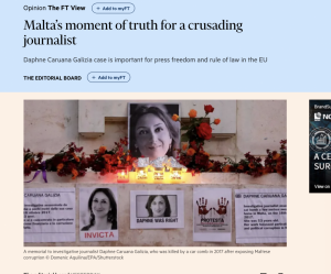 Financial Times leader: Malta should have foreign judges supervising Caruana Galizia probe