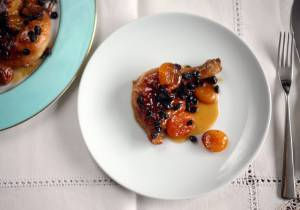 Sticky apricot and currant roast chicken