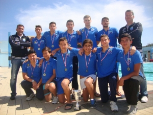 Winter League Trophy presented to Sliema Aquatic Sports Club Water Polo Under 17 team