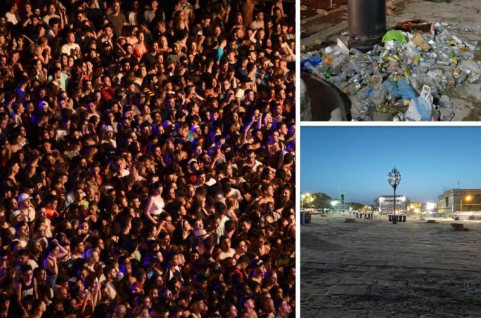 Cleansing officials picked up 19 tons of waste following yesterday's concert