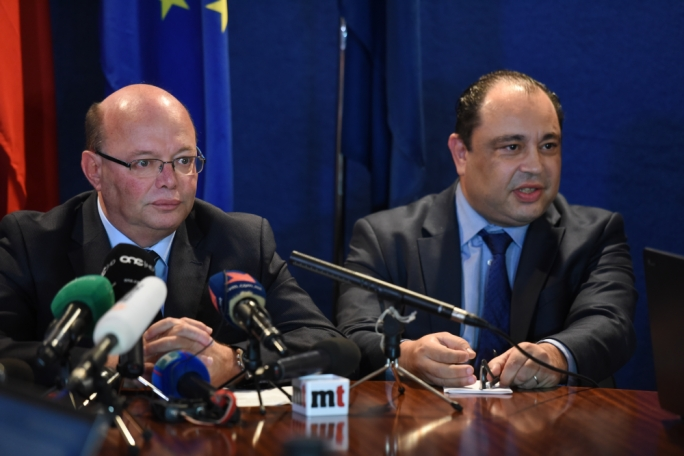 Deputy Police Commissioner Silvio Valletta (right) flanking Commissioner Lawrence Cutajar at the Crime Conference following Daphne Caruana Galizia's murder