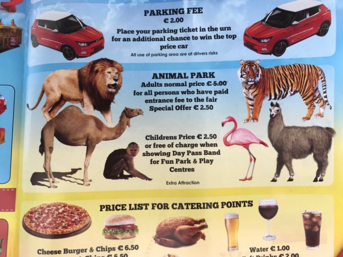 The promotion leaflet which was distributed across the island advertises the special offer related to the illegal animal park at Montekristo Estate