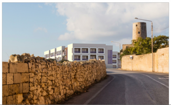 Photomontage showing view of old people's home from Triq M.A. Murray in Naxxar
