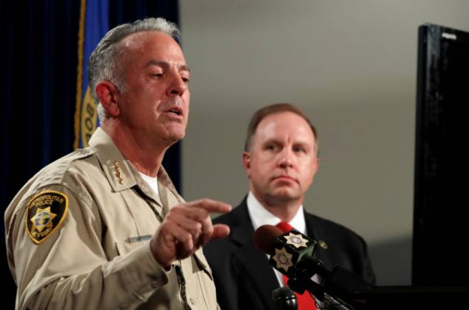 Clark County Sheriff Joe Lombardo (left) responds to a question as Aaron Rouse, FBI Special Agent in Charge of the Las Vegas Division, looks on (Photo: Newsweek)