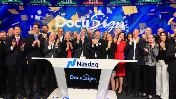 Shares of DocuSign were up more than 30% on Friday morning after the stock began trading on the Nasdaq, under the ticker symbol