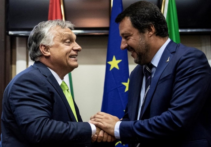 By meeting Orban (left), Salvini upstaged his own PM – Giuseppe Conte – whose calls for burden-sharing of migrants were also rebuked by Czech PM Andrej Babiš, himself passing on the same message to Maltese PM Muscat on Tuesday