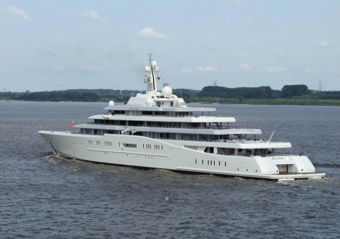 The luxury yacht has two helipads, three launch boats, two swimming pools, a night club, a hair salon, a cinema and even an on-board restaurant.