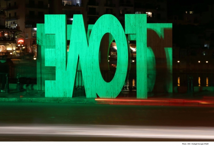 The 'LOVE' sign was lit green for the occasion