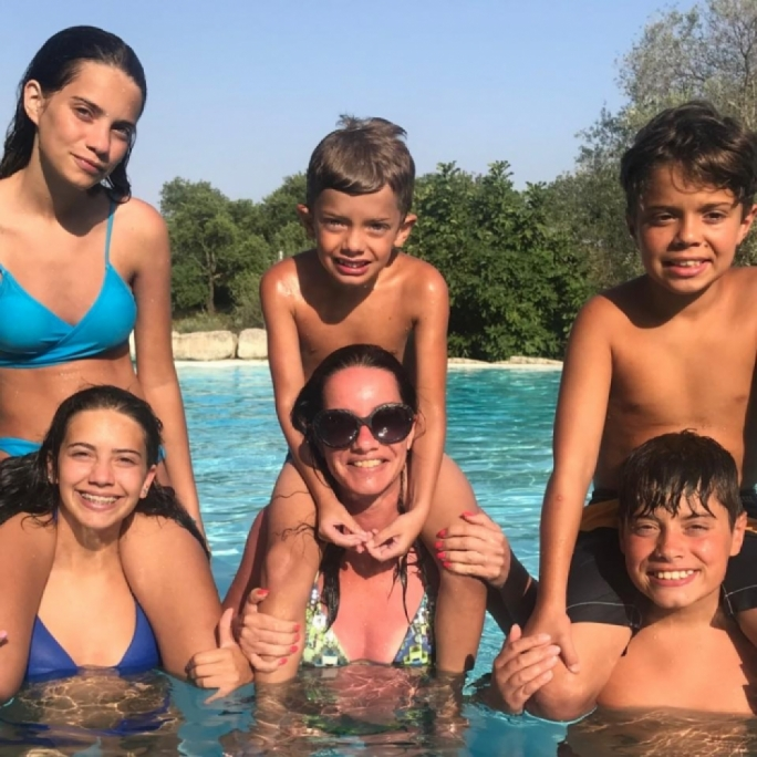 Nickie Vella De Fremeaux with her five kids, quite a hefty private school bill...