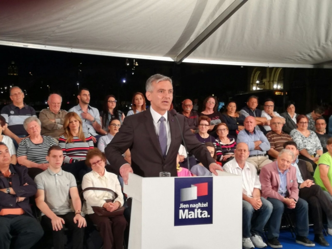 PN leader Simon Busuttil addreses a political activity in Bormla