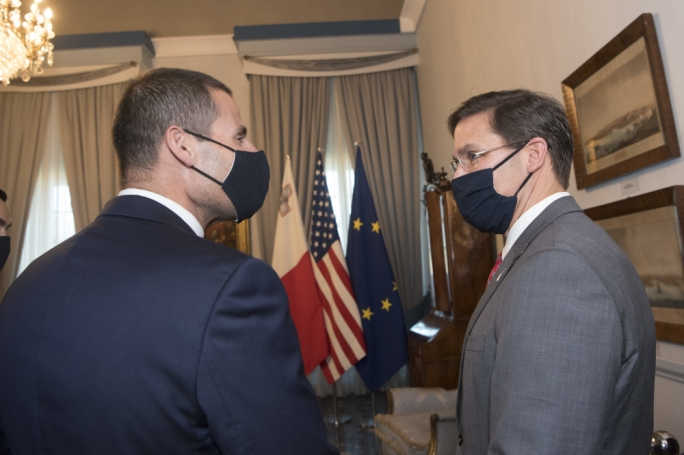 U.S. Secretary of Defense Dr. Mark T. Esper (right) with Prime Minister Robert Abela