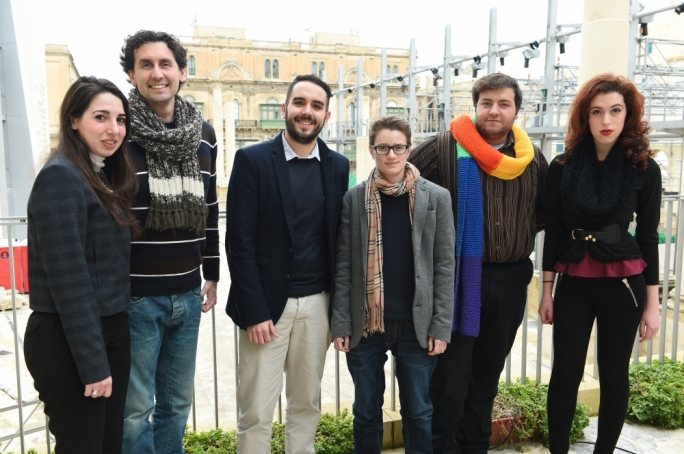 Gender Liberation, from left: Daniela Azzopardi Bonanno, Mario Gerada, George Douglas Saliba, Alex Mangion, Pyt Farrugia and Gabrielle Borg Cassar (Photo Ray Attard)