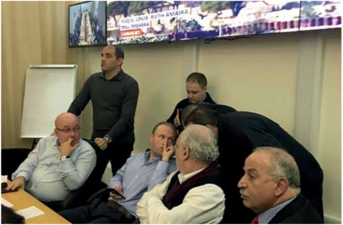Muscat and his entourage of advisors (from left: Mario Cutajar, James Piscopo, Kurt Farrugia, Louis Grech and Abdul Zmirli) during the December 2016 hijacking of a Libyan airplane
