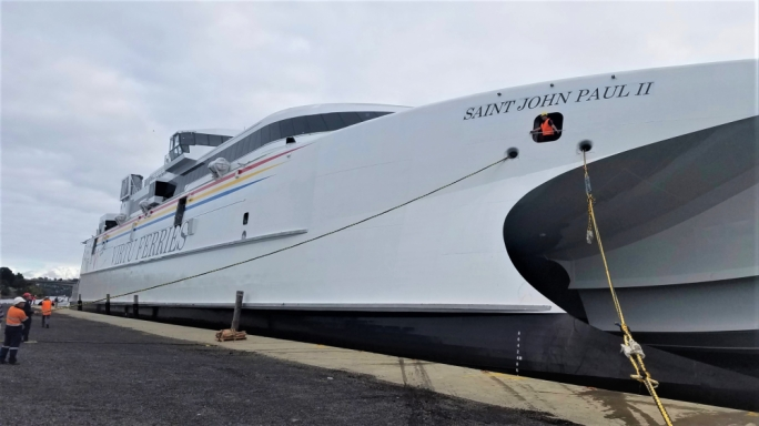 The new Virtu Ferries catamaran is in Tasmania, before crossing the Indian Ocean and the Suez Canal to Malta