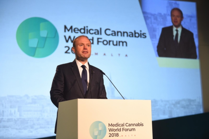 Prime Minister Joseph Muscat at the Medical Cannabis World Forum at the Mediterranean Conference Centre: