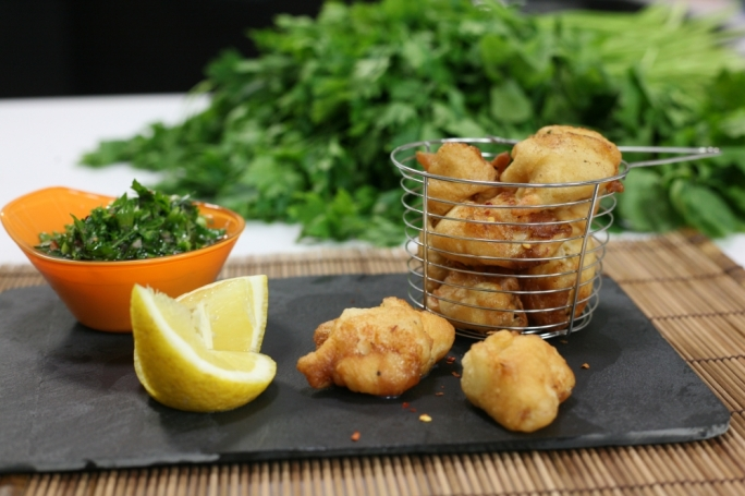 Beer-battered scallops with rocket salsa verde