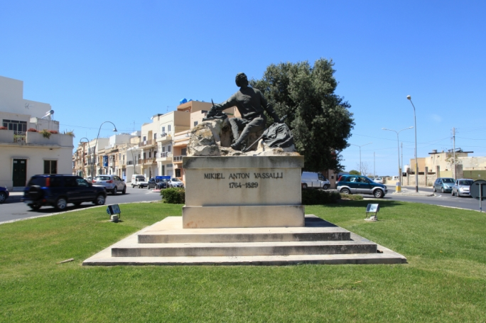 The Maltese patriot Mikiel Anton Vassalli 'only' marks the gateway to his native Haz-Zebbug, taking pride of place on a roundabout on the motorway