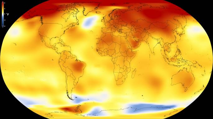 This map shows Earth's average global temperature from 2013 to 2017, as compared to a baseline average from 1951 to 1980, according to an analysis by NASA's Goddard Institute for Space Studies. Yellows, oranges, and reds show regions warmer than the baseline. (Photo: NASA)