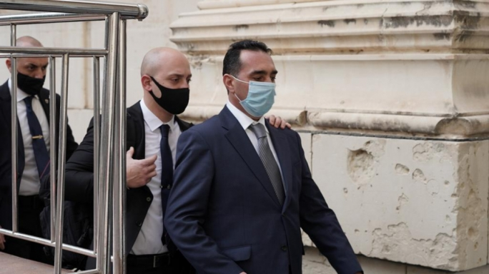 Melvin Theuma (first on right) leaving the courtroom on Monday (Photo: James Bianchi/MaltaToday)
