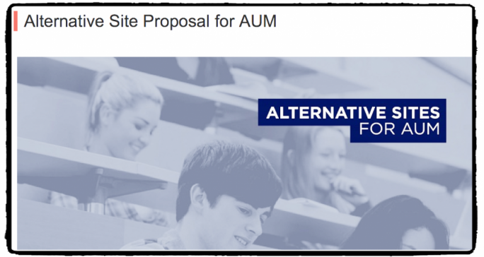 Still from the OPM website calling for proposals from the public for alternative sites for the American University