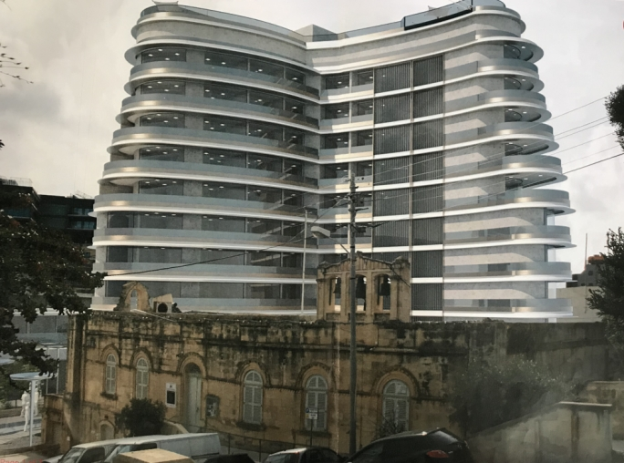 Rendition of the 12-storey complex towering above the Augustinians' property