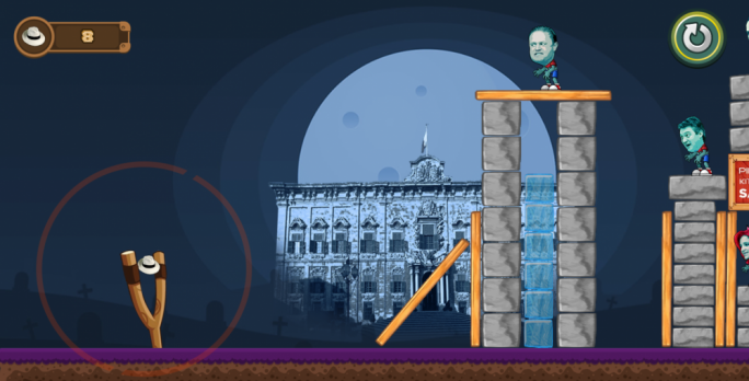 MZPN's 'Money Zombies' allows people to catapult Panama hats at zombie versions of Joseph Muscat, Michelle Muscat, Konrad Mizzi and Keith Schembri