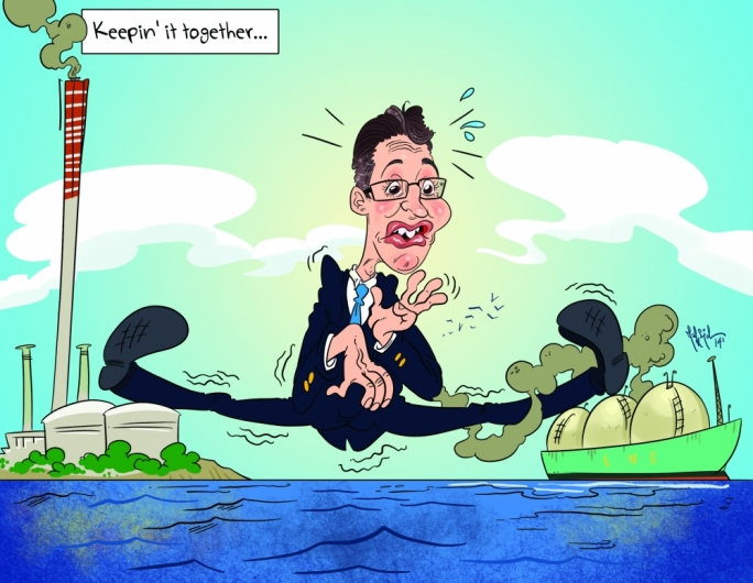 Konrad Mizzi tries to keep things together as the Opposition raises doubts as to whether an agreement with ElectroGas has been signed for the supply of gas for Enemalta. Cartoon by Mark Scicluna