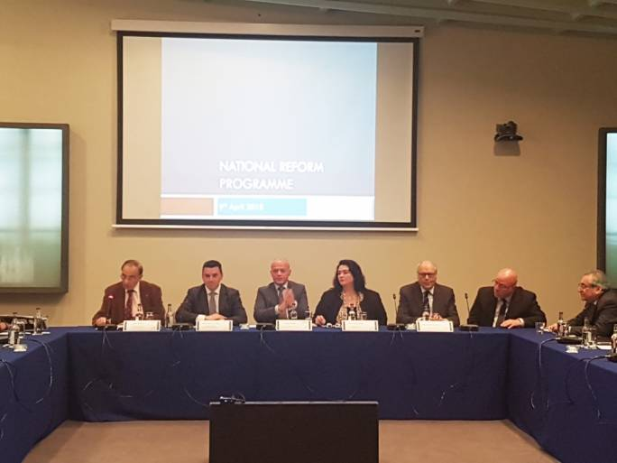Finance Minister Edward Scicluna addressed a joint MEUSAC and MCESD meeting on the 2018 National Reform Programme