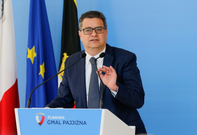 Opposition leader Adrian Delia addressing party followers at an event at the PN headquarters on Sunday