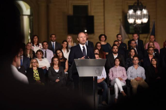 Prime Minister Joseph Muscat addresses a press conference outside Castille (Photo: James Bianchi/MediaToday)