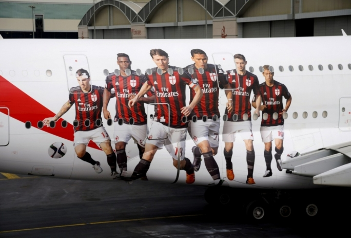 Emirates showcases its sponsorship of AC Milan at 30,000ft, and across the globe