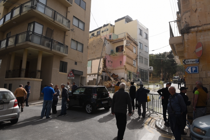 Guardamangia apartment that collapsed next to a construction site