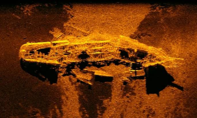 A sonar image of one of the shipwrecks found in 2015