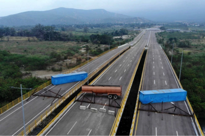 Aerial view of the Tienditas Bridge, in the border between Cucuta, Colombia, and Tachira, Venezuela, after Venezuelan military forces blocked it with containers