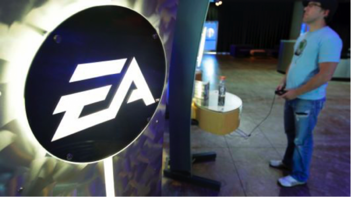 An image of the EA logo, one of the largest computer game makers in the world
