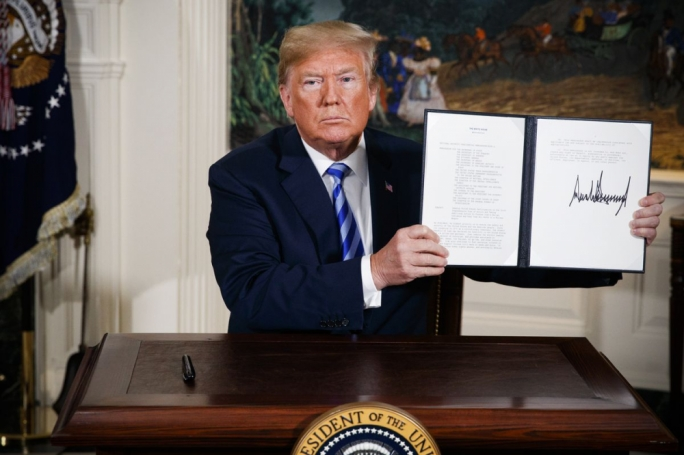 He's only gone and done it. Trump signs off on the withdrawal of the US from the Iran nuclear deal