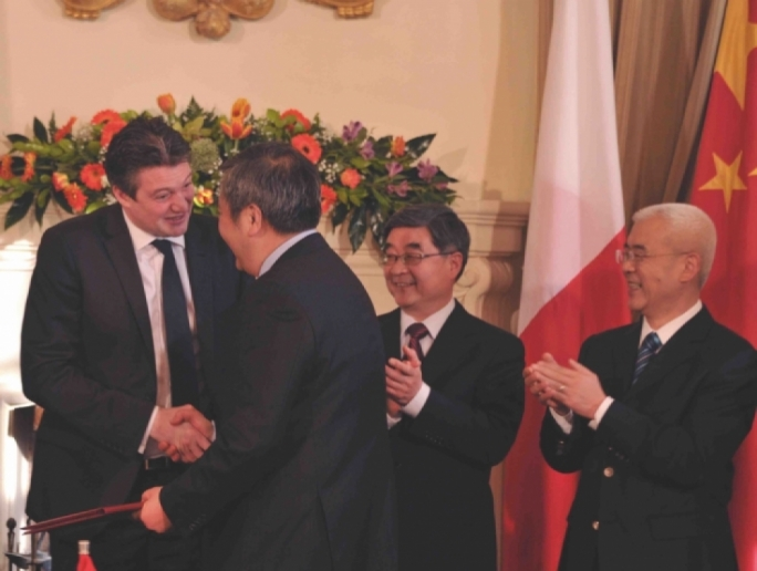 Konrad Mizzi (left) with Shanghai Electric representatives. Cheng Chen is not in this photograph