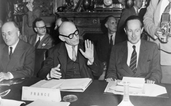 Jean Monnet (left), Robert Schuman (middle) and his aide Jacques de Bourbon-Busset (right), at the inter-governmental negotiations on the Schuman Plan that gave rise to the European Coal and Steel Community