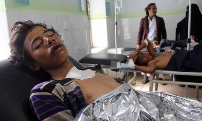 Patients treated at a hospital in Hajja in Yemen following an ai strike during a wedding. (Photo: Reuters)