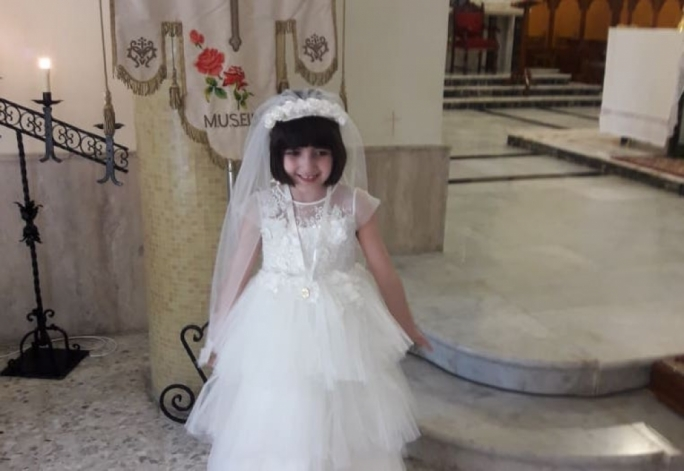 Ella Agius at her Holy Communion